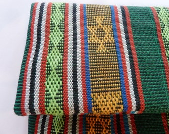 Hand woven Ikat Fold Over Clutch in Green & Orange-Woven Ethnic Bag-Ikat handbag