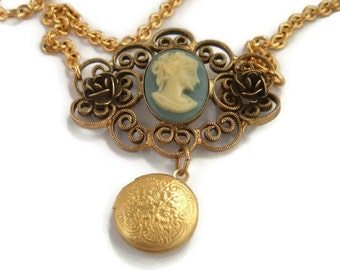 Vintage Upcycle,Cameo locket Necklace , Cameo Pendant,Cameo Locket jewelry,Vintage locket,Victorian cameo locket,small locket necklace,OOAK