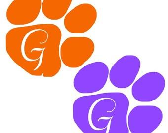 Clemson decal, clemson tigers, tiger decal, purple clemson, orange clemson, clemson initial, clemson car, orange blood
