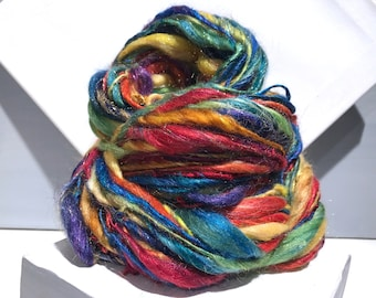 "Thick Thin Art Yarn, bulky handspun yarn ""Sparkly Rainbow"" Rainbow Yarn: Red Yellow Blue Purple Orange Green, Crochet Knitting weaving yarn"