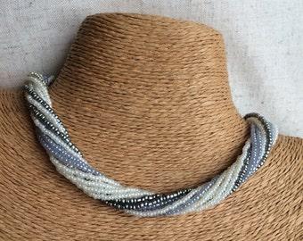 Ivory beaded necklace, ivory gray necklace, multi-strand necklace, grey bridesmaids, grey necklace, bridesmaids necklace, twisted necklace