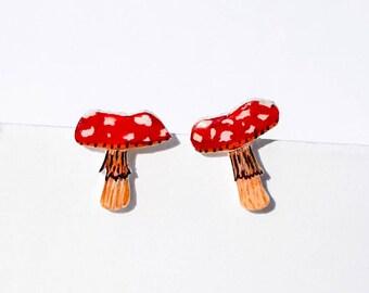 Toadstool Stud Earrings -- Unique Item -- Fungi jewellery --