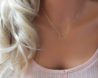 Simple Everyday Circle Necklace •  Gold Infinity Choker • Gold Silver Round Ring Karma Choker • Layering Circle Girlfriend Gift for Her
