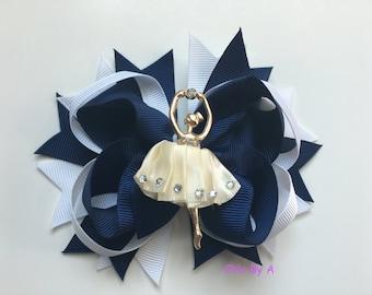 Navy Blue,Ballerina,Ballerina Hair Bow, Ballet Hair Clip,Ballet Hair Bow,Princess Hair Bow,Ballerina Hair Clip,Dance Hair Bow