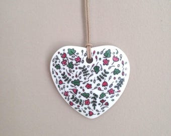 Porcelain pendant, Heart Necklace with flowers of liberty, Valentine's day gift or mother's day