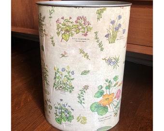 Botanical Garden Trash Can - Flowers Herbs Victorian Waste Paper Basket Vintage Garbage Can Antique