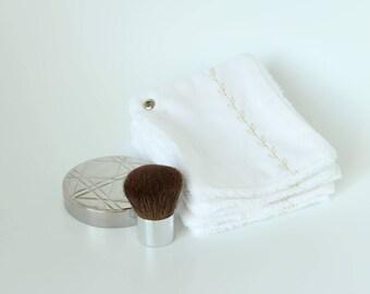 Carrés coton lavables démaquillants blancs en lot de 7 - Lingettes débarbouillantes - Lingettes en coton - Carré démaquillant en coton bébé
