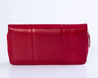 Red leather wallet Leather wallet Handmade wallet Womens leather wallet Business card wallet Wallet for women Zipper wallet Coin wallet