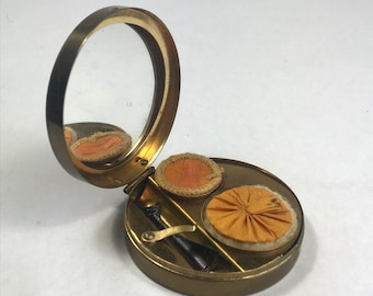 Loreen Rachel Enamel Brass Compact With Two Shades of Powder & Puffs