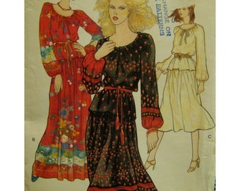 "70s Peasant Blouse and Skirt Pattern, Long Sleeves, Drawstring Neck, Yoked Skirt, Belt, Vogue No. 9963 Size 10 (Bust 32.5"" 83cm)"