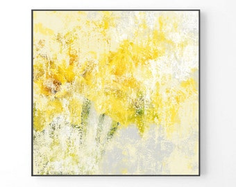 Large Abstract painting, yellow painting PRINT, painting large flowers, abstract art, botanical Print, yellow gray wall art, floral print