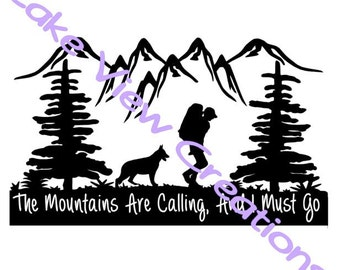 "The Mountain Is Calling, I Must Go Permanent Vinyl Decal Sticker  10"" x 6"""