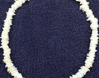 "New Genuine 17"" Handcrafted White Hawaiian Puka Shell Necklace"