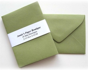 10 Mini Envelopes - Olive -Card Making, Paper Crafting, Gift Cards, Tags, Souvenirs, Mementos, Notes, Gift Giving