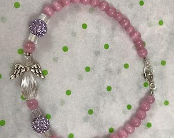 Guardian Angel Pink Cats Eye, Lavender Bling, Beaded Bracelet, New, Gift