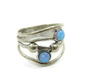 Silver opal ring. Double sterling silver opal ring. Silver ring. Opal silver ring. Wide ring. opal jewelry (sr-9968-1467)