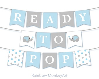 Ready To Pop Bunting Flags - Baby Shower Decoration Party Flags - Blue Baby Shower Decor - Baby Shower Bunting - Baby Shower Banner