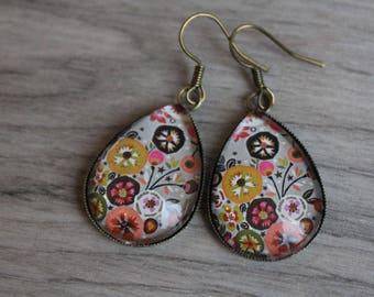flowers vintage glass brass drop hook earrings