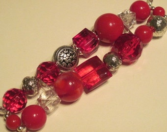 Red and Clear with silver accent beads double stranded interchangeable watch band