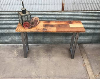 Reclaimed Wood Patchwork Timber Console Table