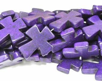 "BIG SALE Purple Cross Beads, Large Crosses, 50x40mm Magnesite Crosses,  Howlite Crosses, 16"" Strand, 8 PCS, Cross Jewelry, Wholesale Beads"
