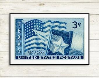 Texas, Texas USA, Texas Statehood, Texas Centennial, Texas art, Texas poster, Texas wall art, Lone Star, United States Postage, US postage