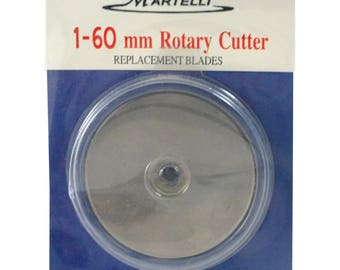 Rotary Cutter Blade, Large Blade MRTRB-60 - Martelli Rotary Cutter Replacement Blade 60mm  - choose Single or Double Pack