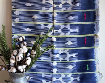 Baule cloth, Vintage Ikat Strip Cloth, Pillow Covers, African Mudcloth Throw, Wall Hanging,Indigo, Mudcloth Bedding, Blanket, Baoule Fabric