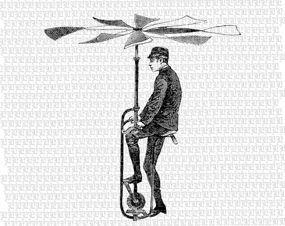 Man Flying Machine Victorian Technology Invention Antique