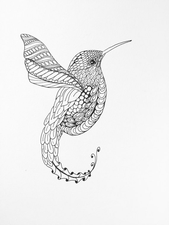 items similar to zentangle hummingbird wall