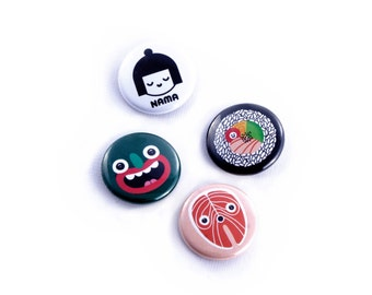 Set of 4 cute pinback pins, badges, Art Button Pins, funny badge, funny button