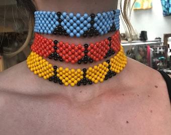 Vintage Deadstock Beaded Hippie Woodstock Necklace Chokers