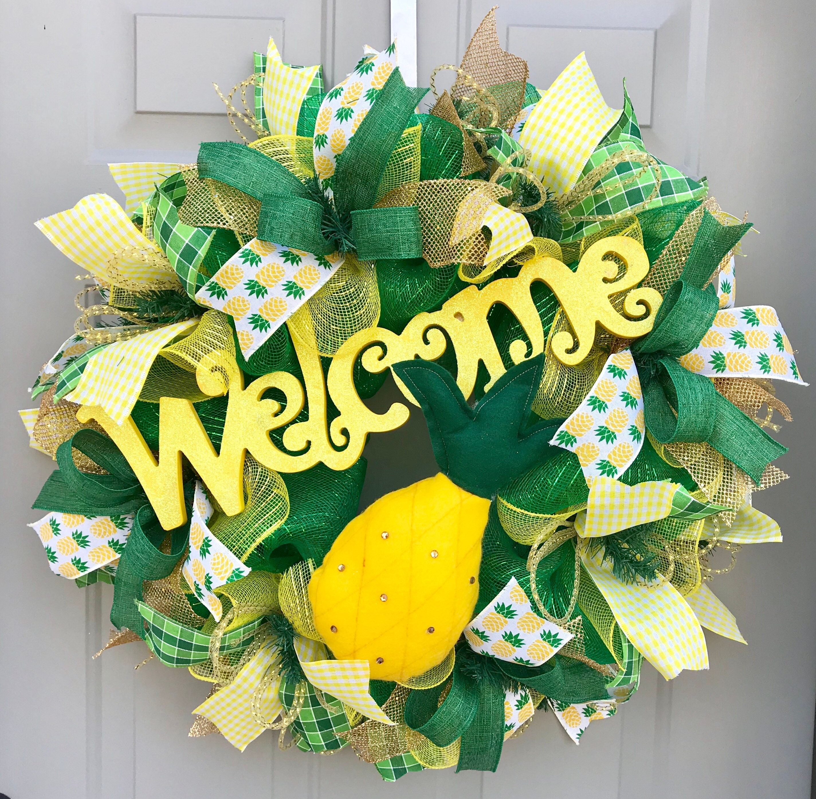 Welcome Pineapple Summer Deco Mesh Wreath Welcome Wreath
