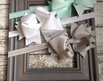 Boutique Baby Girls Set of 3 White Aqua Grey Large Hair Bow on Elastic Headband..Perfect for Photo Props holidays birthdays