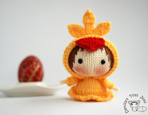 Yellow chicken doll easter doll pdf knitting pattern tanoshi easter doll pdf knitting pattern tanoshi series toy easter ornament pattern baby shower gift pattern from deniza17 on etsy studio negle Images