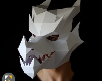 DRAGON Mask - Make your own 3D dragon mask with this PDF download and card