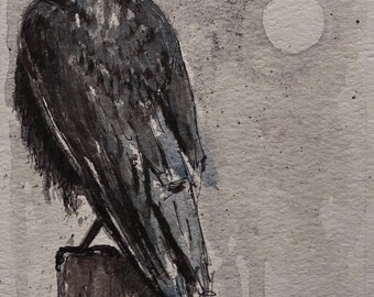 RAVEN at MOONRISE Original Watercolor * CROW Painting * Gothic Wall Art * Edgar Alan Poe Art * Small Original Art * Monochrome *