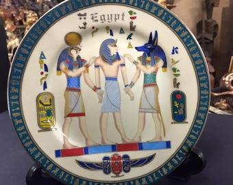 Vintage Egyptian Ceramic Plate- God's   Hand painted Designer Fathi Mahmud  Made In Egypt