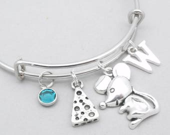 Mouse with cheese heart monogram charm bracelet   mouse bangle   personalised mouse bracelet   mouse jewelry   mouse gift   birthstone