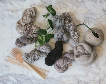 Limited edition!!! Tonal gray pack for using a weaving loom to make a wall hanging including vintage and hand spun fibers