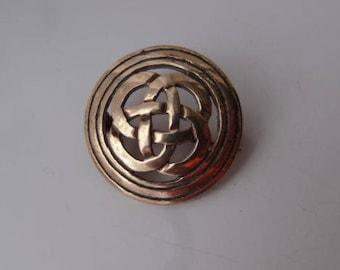 Antique VINTAGE CELTIC Knot Design Pewter SG Brooch Pin Celts