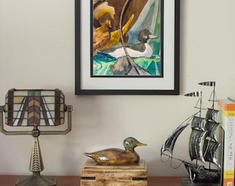 Wildlife, Waterfowl, Duck, Decoy, Watercolor