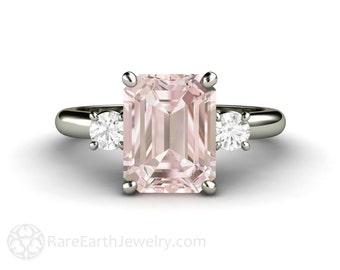 2ct Pink Morganite Ring Morganite Engagement Ring Emerald 3 Stone Conflict Free Diamonds 14K 18K Rose Gold Pink Gemstone Ring Wedding Ring