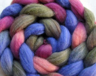 Polwarth and Tussah Silk Hand Painted Spinning Fiber (Combed top) 4 oz.