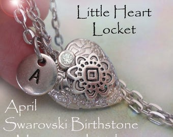 Little Heart Locket April Birthday Personalized with Swarovski Birthstone and Letter Charm, April Birthday Gift, April Birthstone Locket