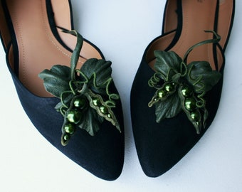 Khaki Green Leather Pea Pod Shoe Clips, Green Pea Clips, Fun Shoe accessories