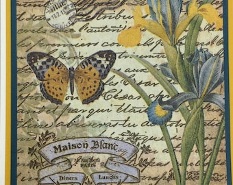 Handmade Botanical Card, Butterfly