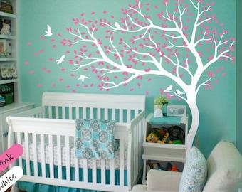 White Tree Wall Decal Wall Art Decor Wall Tattoo Tree Decal Huge Tree wall decal Wall Mural Stickers Nursery Tree and Birds - 098