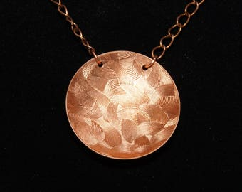 Concave Textured Copper Pendant
