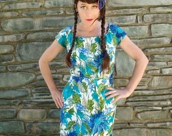 Designer Peggy Hunt floral 60s 1960s wiggle dress blue 50s 1950s bombshell pinup